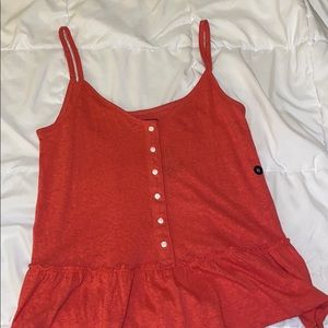 Red Abercrombie tank, ruffled bottom, button down